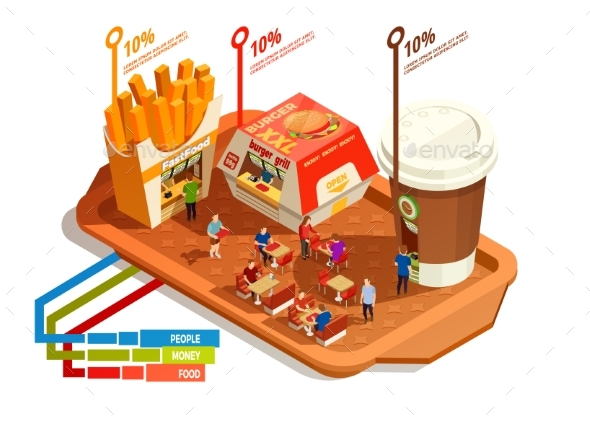 Food Court Infographic Concept - Food Objects