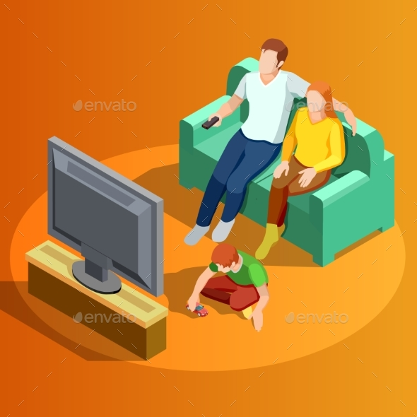 Family Watching TV Home Isometric Image - People Characters