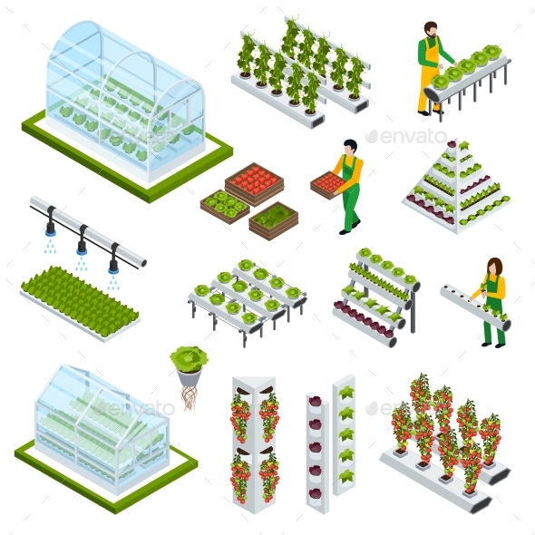 Hydroponics Icons Set - Flowers & Plants Nature