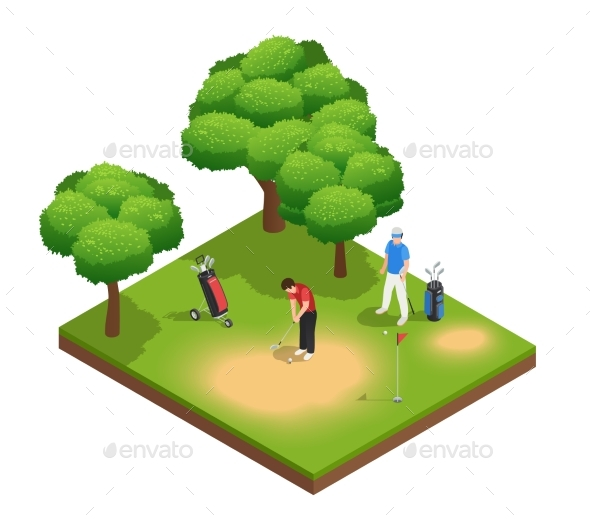 Golf Isometric Top View Composition - Sports/Activity Conceptual