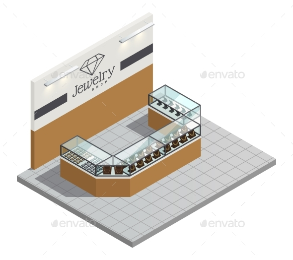Jewelry Store Isometric Interior - Miscellaneous Vectors