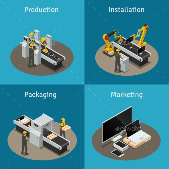 Electronics Factory Isometric Composition - Computers Technology