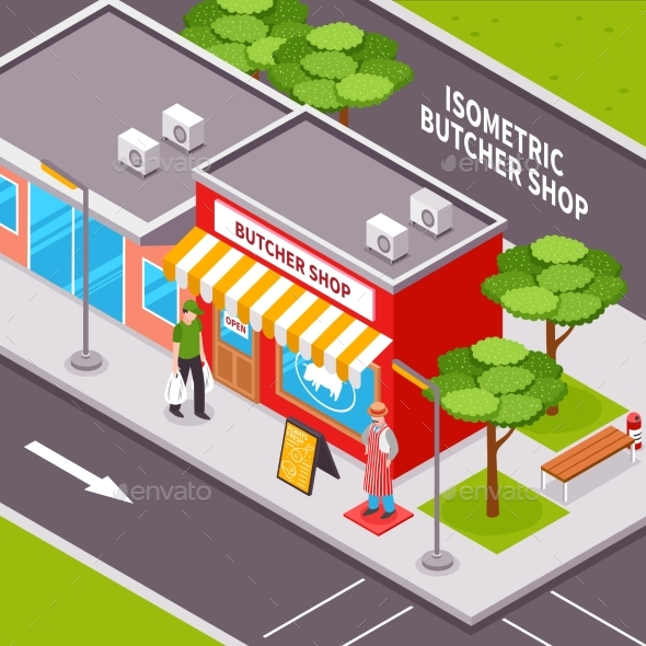 Butcher Shop Outside Isometric Design - Buildings Objects