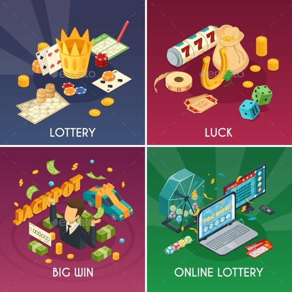 Lottery Concept Icons Set - Industries Business