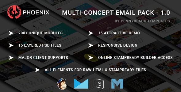 PHOENIX – Multi-Concept Responsive email Pack