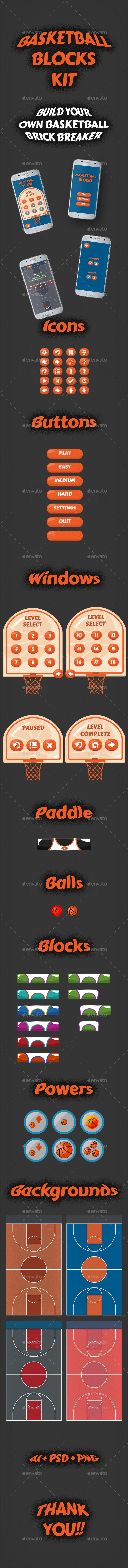 Basketball Brick Breaking Game Kit - Game Kits Game Assets