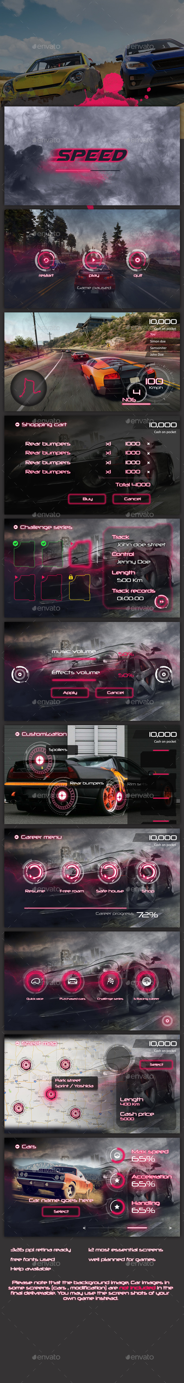 Sci-fi Racing Game UI - User Interfaces Game Assets