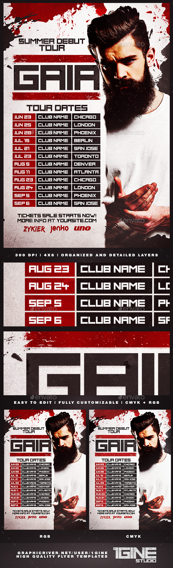 DJ Tour Dates Flyer Template - Clubs & Parties Events