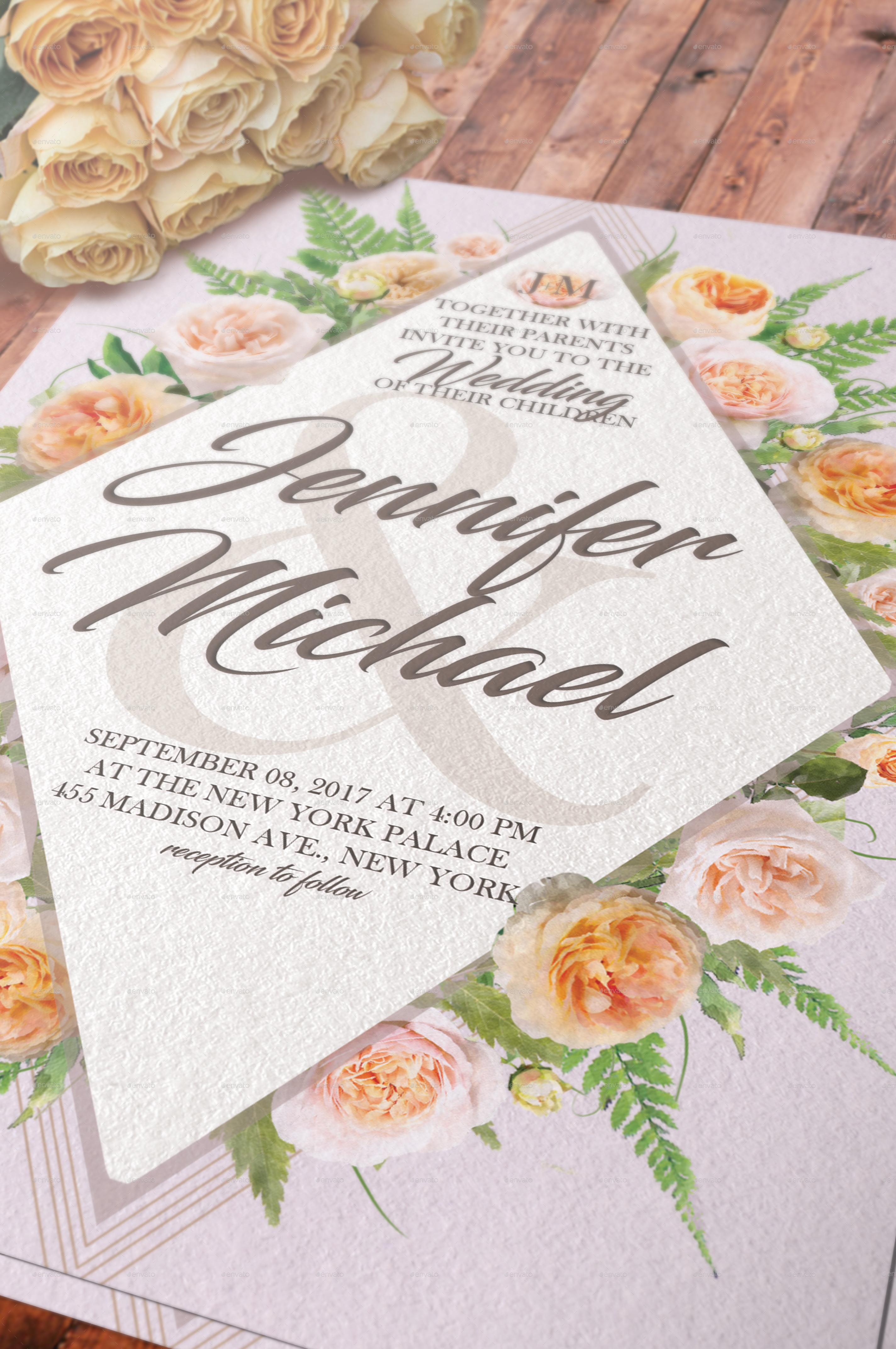 Taupe & Peach Floral Wedding Invitation Pack by arcford | GraphicRiver