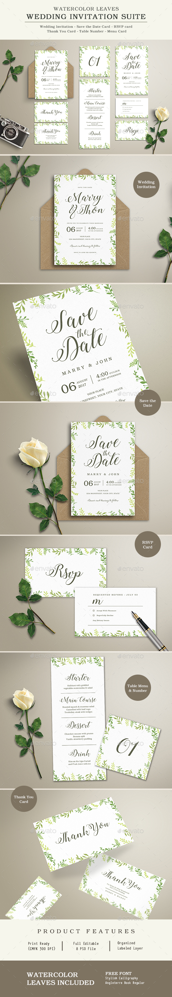 Watercolor Leaves Wedding Invitation Suite - Wedding Greeting Cards