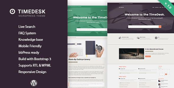 TimeDesk – Responsive Knowledge Base FAQ WordPress Theme