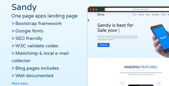 Image of SANDY - One Page Apps Landing Page