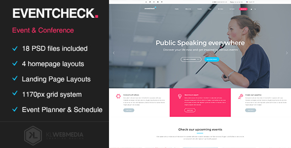 Eventcheck - Meeting, Conference & Event PSD template - Events Entertainment