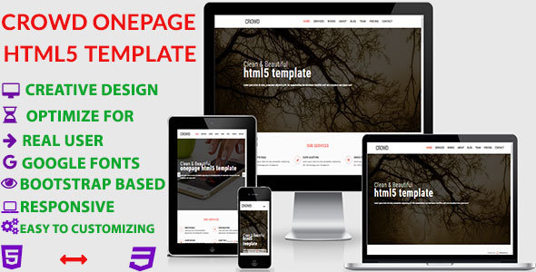 Crowd – Creative Portfolio HTML5 Onepage Template