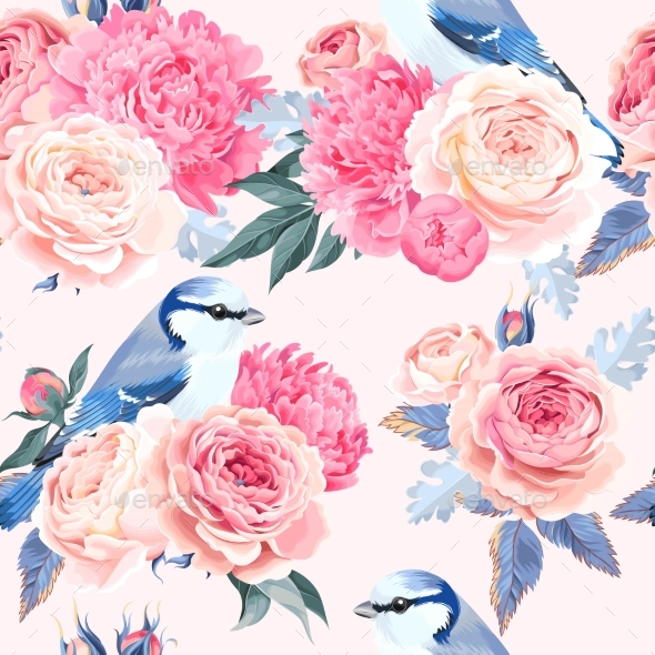 Flowers and Birds Seamless - Flowers & Plants Nature