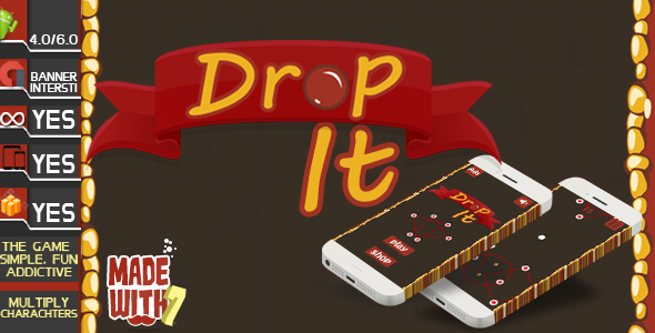 Drop It Game Template | Admob (Banner + Interstitial ) +in game purchase - CodeCanyon Item for Sale