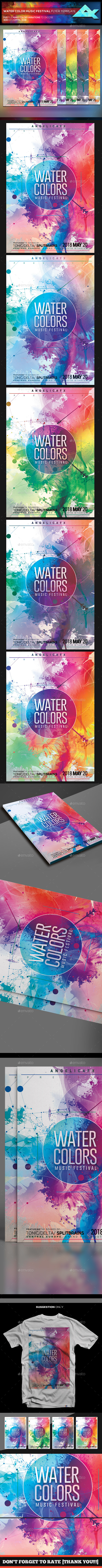 Water Color Music Festival Flyer Template - Flyers Print Templates