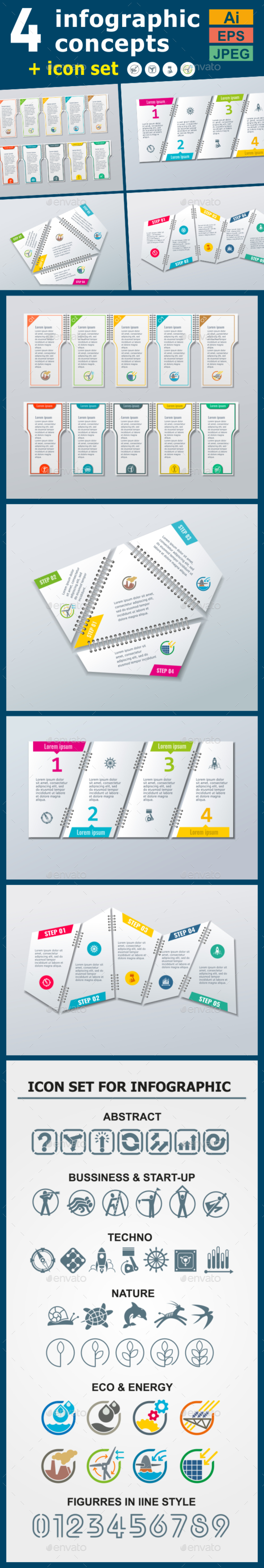 Infographic Templates in Paper Style. v.03 - Infographics