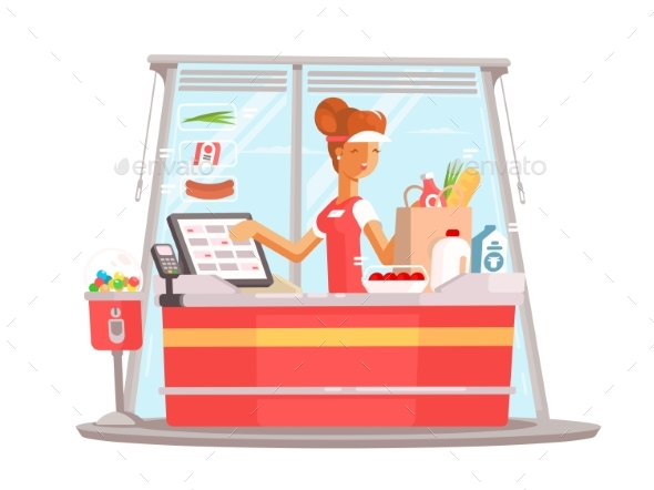 Young Girl Cashier - People Characters