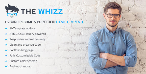 The Whizz – Personal Vcard Resume HTML Template