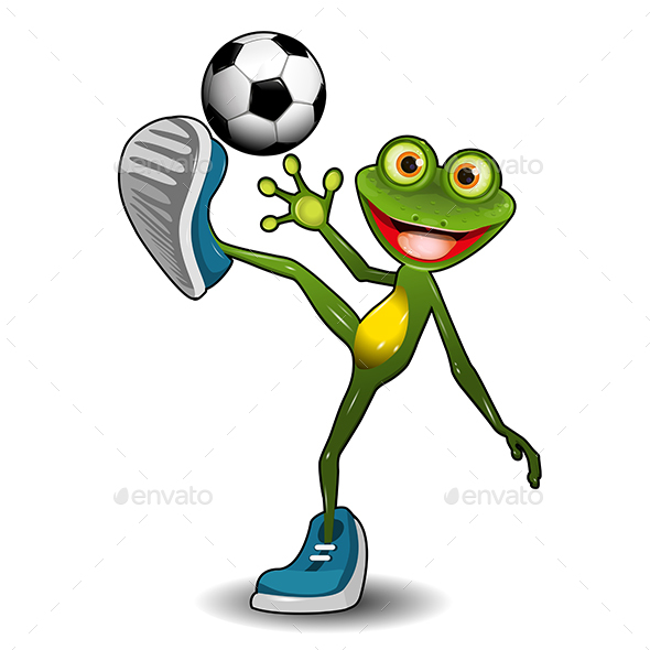 Frog with a Soccer Ball - Animals Characters