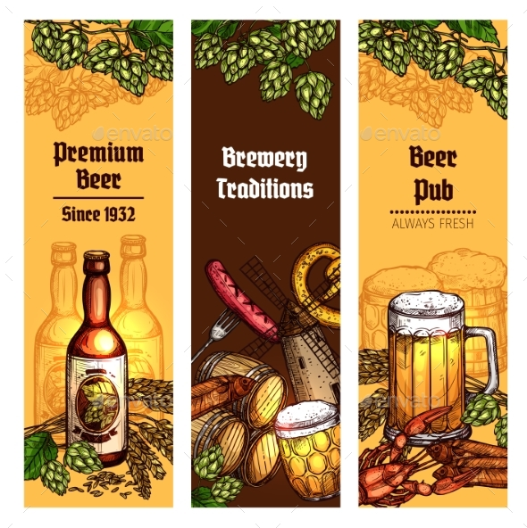Beer with Snacks Banner for Pub - Food Objects