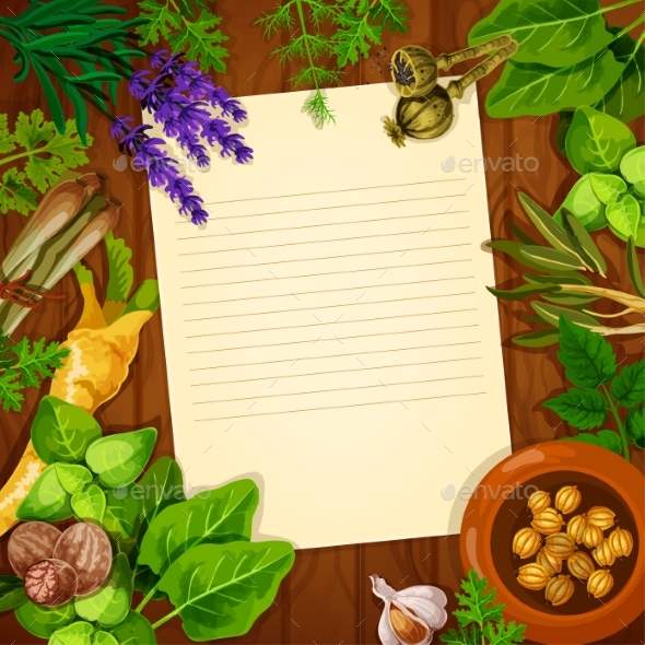 Recipe Paper with Spices and Fresh Herbs - Food Objects