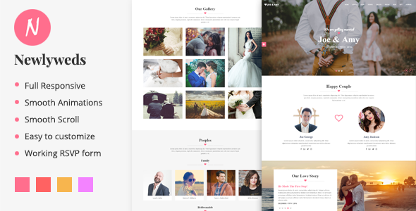 Newlyweds - Modern HTML Wedding Template