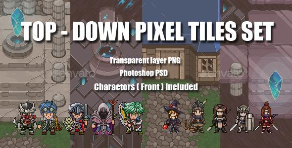 Top - Down Pixel Tiles Set - Tilesets Game Assets