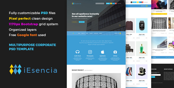 iEsencia Multipurpose Corporate PSD Template