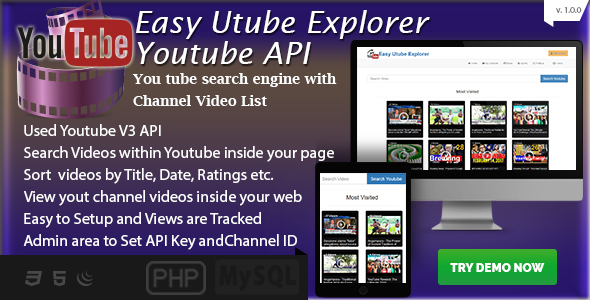 Easy Utube Explorer - Youtube API based Channel and Search - CodeCanyon Item for Sale
