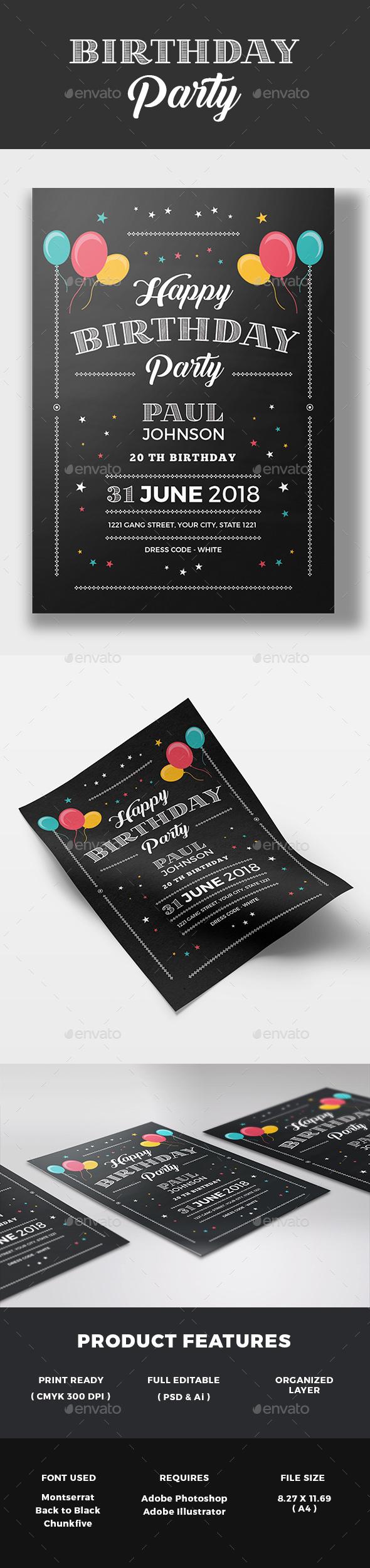 Chalkboard Birthday Invitation - Invitations Cards & Invites