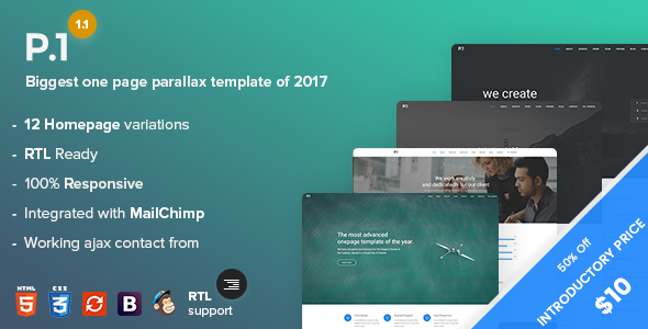 P1 – One Page Parallax + RTL