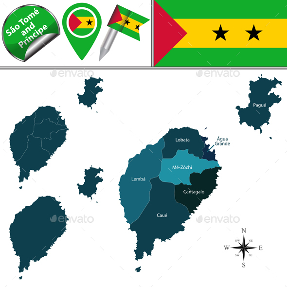 Map of Sao Tome and Principe with Named Districts - Travel Conceptual