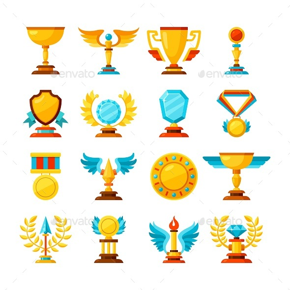 Vector Color Trophy and Awards Icons Set on White - Miscellaneous Icons