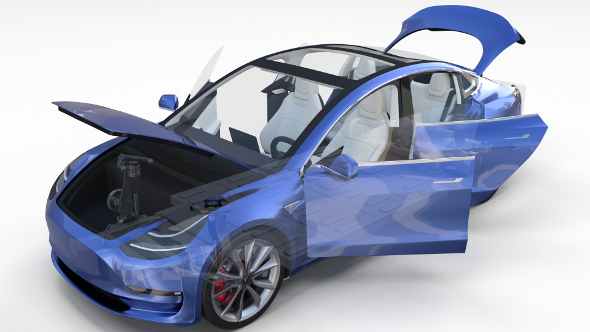 Tesla Model 3 with interior and chassis - 3DOcean Item for Sale