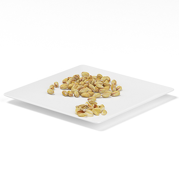 Pistachios on White Plate - 3DOcean Item for Sale