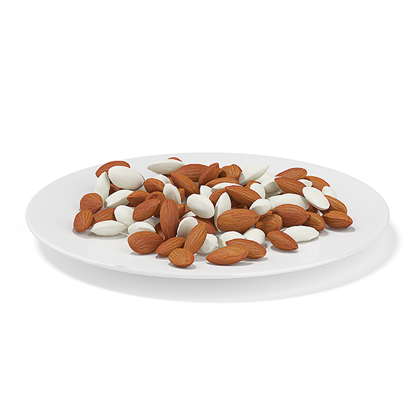 Almonds on White Plate - 3DOcean Item for Sale