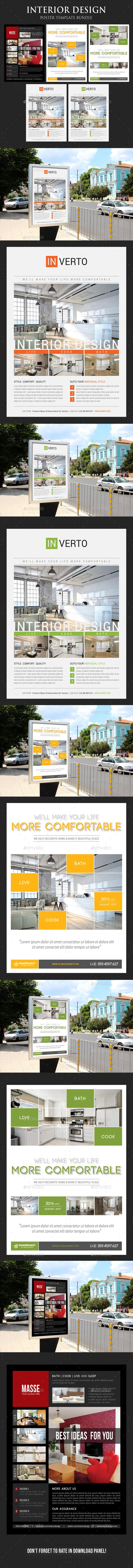 3 in 1 Interior Design Poster Bundle V04 - Signage Print Templates