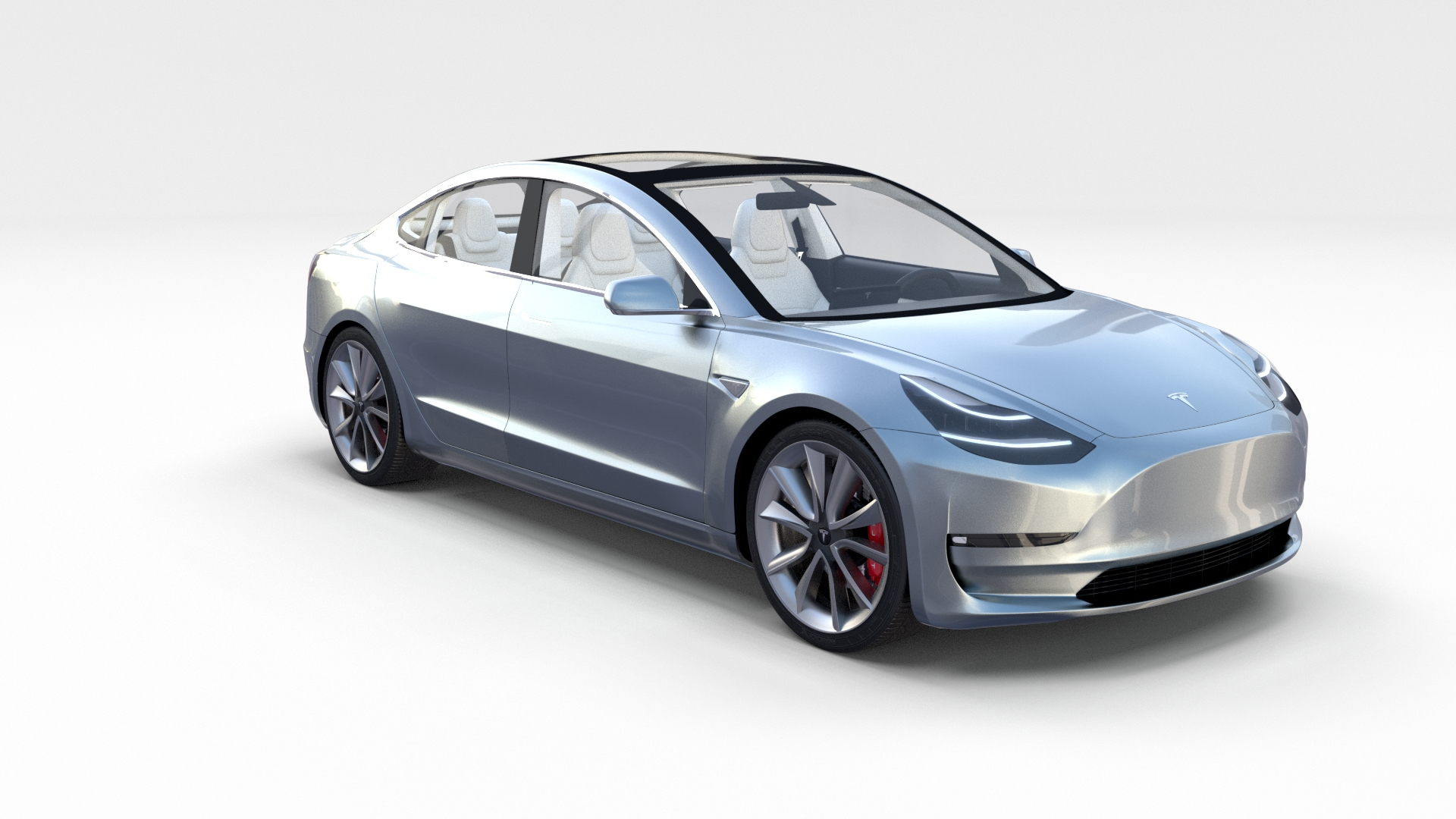 tesla model 3 silver with interior and chassis by. Black Bedroom Furniture Sets. Home Design Ideas