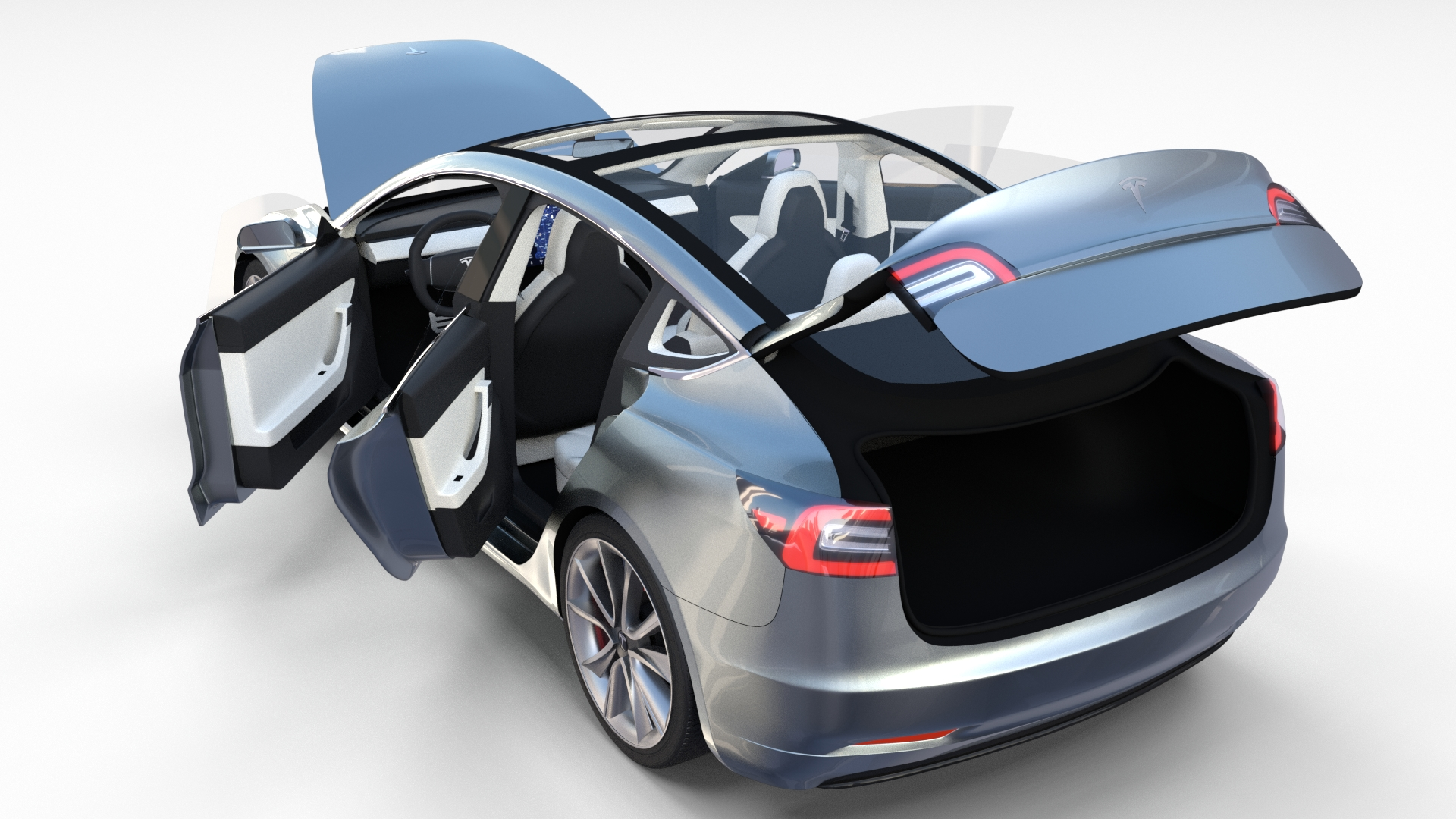 Tesla Model 3 Silver with interior and chassis by ...