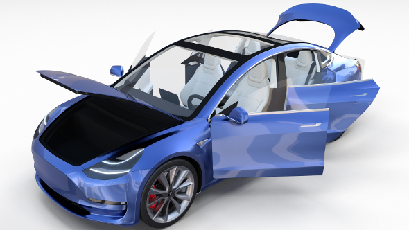 Tesla Model 3 with interior - 3DOcean Item for Sale