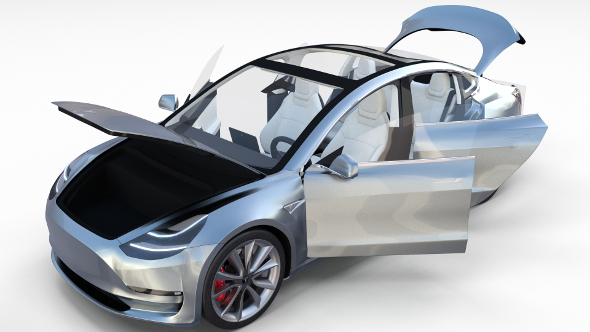 Tesla Model 3 Silver with interior - 3DOcean Item for Sale