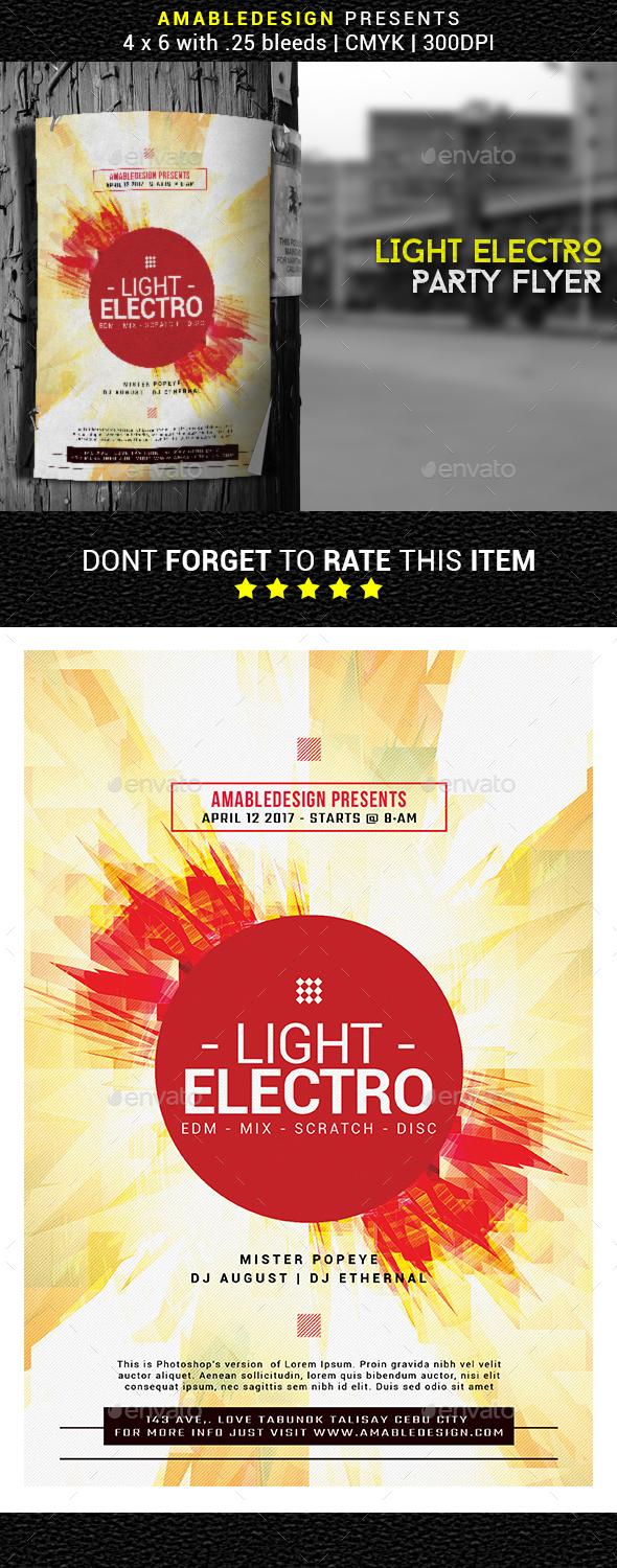 Light Electro Flyer - Events Flyers