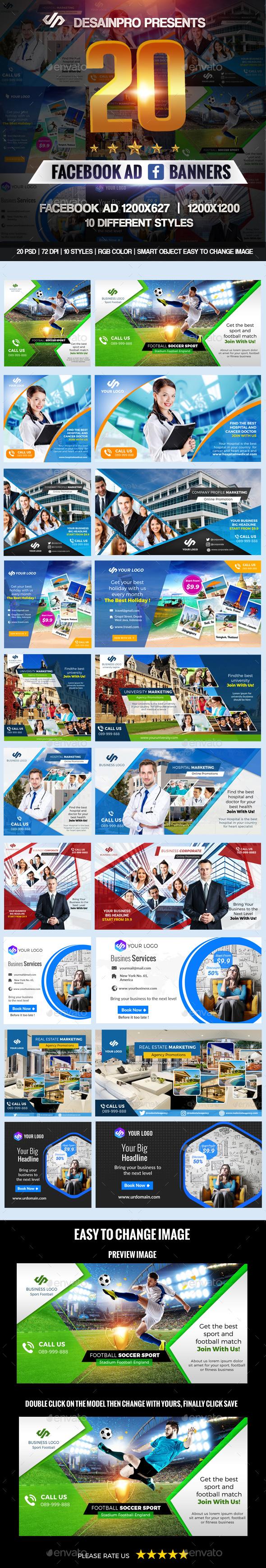 20 Facebook Ad Banners V1 - Social Media Web Elements