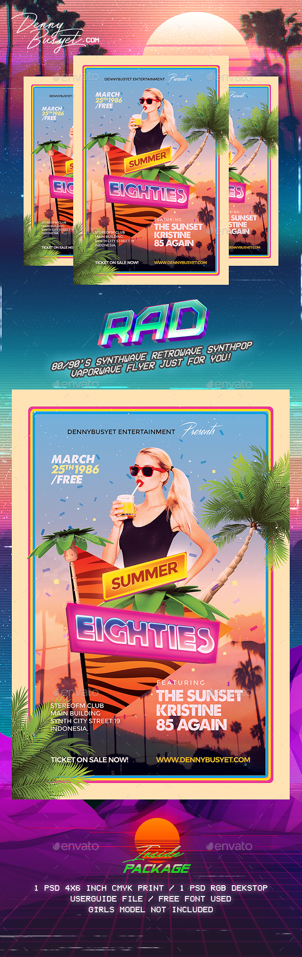 Summer 80's Synthwave Flyer Template - Events Flyers
