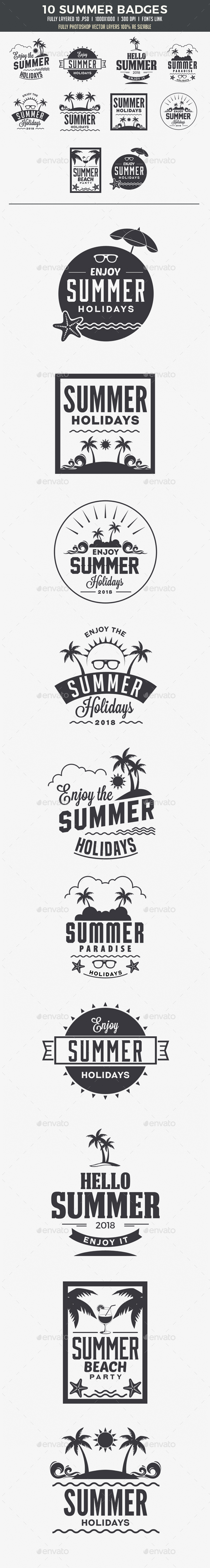 10 Summer Badges - Badges & Stickers Web Elements