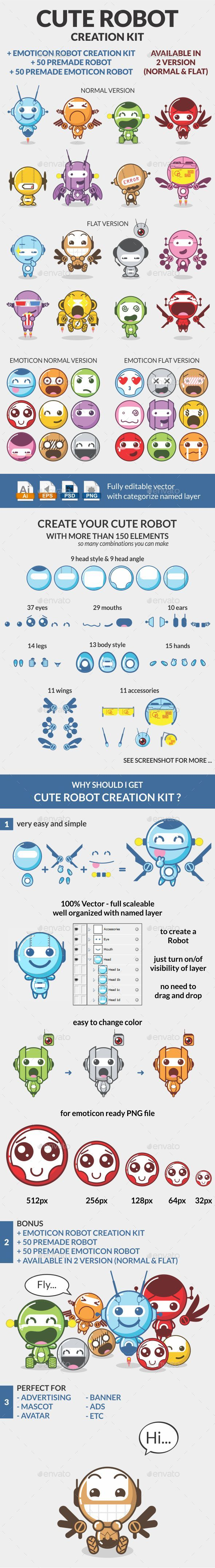 Cute Robot Creation Kit - Characters Illustrations
