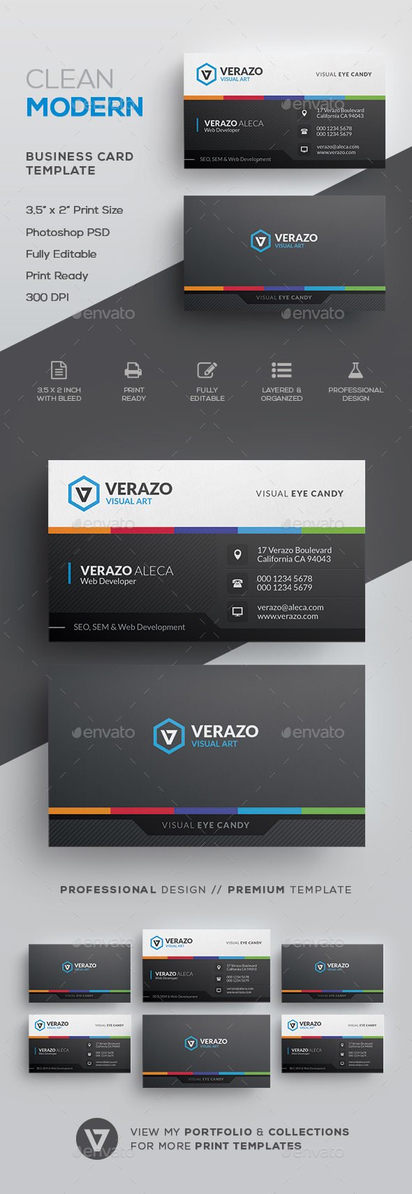 Stylish Multicolor Business Card Template - Corporate Business Cards