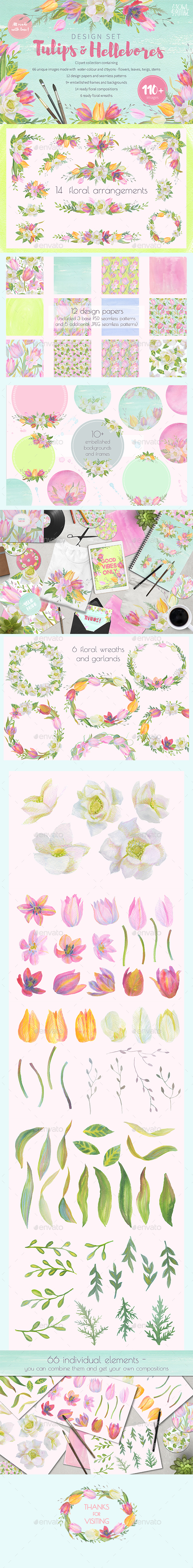 Floral Design Pack (Watercolor & Pastel) - Graphics